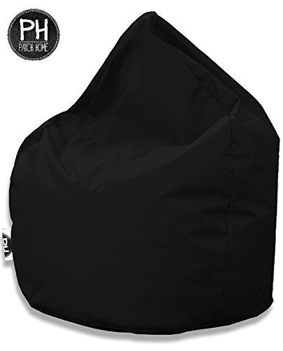 Pouf poire Patchhome - En forme de goutte - Pour l'intérieur et l'extérieur - 300 l - Avec rembourrage en polystyrène - 25 couleurs et 3 tailles différentes couleurs et 3 tailles différentes, Toile, Noir , XL 300 Liter