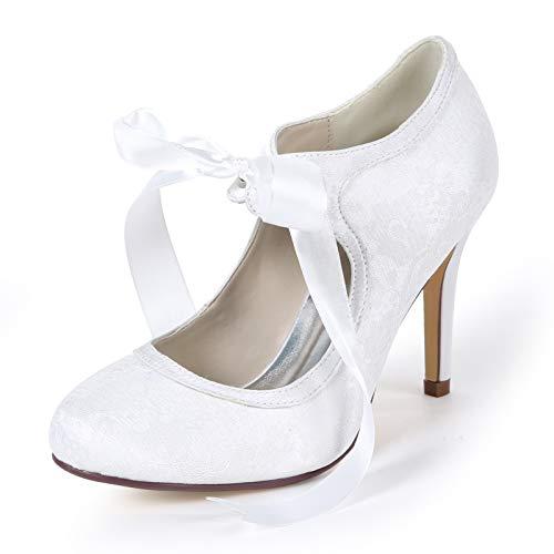 LGYKUMEG Damen Brautschuhe Runde Geschlossene Zehen Lace Satin Band Bindung Pumps Schuhe Abendkleid Schuhe,01,EU37