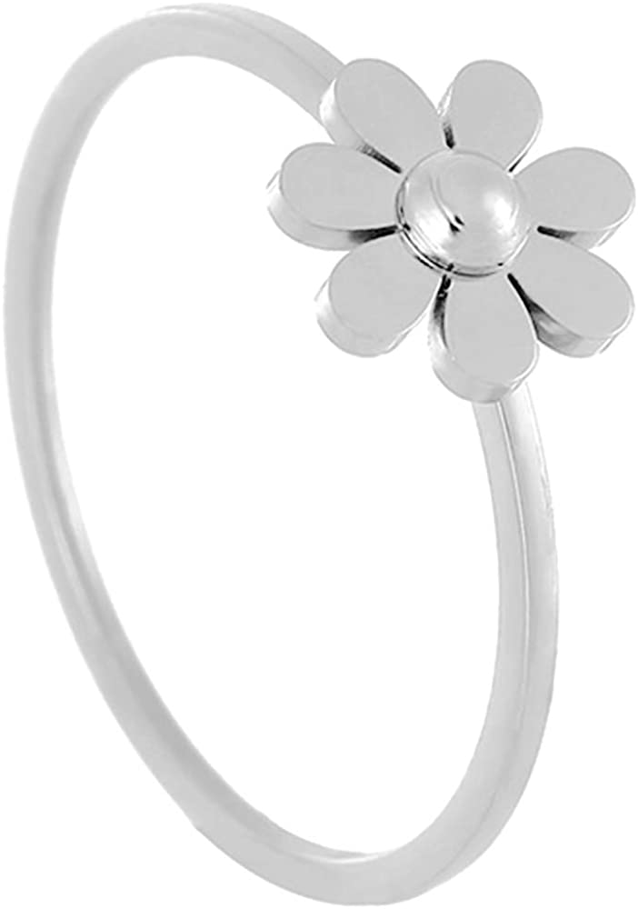 Jude Jewelers Stainless Steel Cute Dainty Flower Style Wedding Promise Anniversary Ring