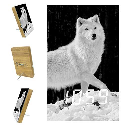 Vockgeng Digitaler Wecker Kinder Wecker Schneewittchen Tier Wolf Tischuhr mit Akustik Steuerung Datum und Temperatur,...