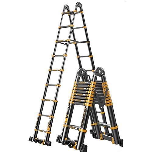 ZRABCD Stepladder Safe Steble 4.2M / 13.5Ft Extensión Telescópica de la Escalera de Aluminio, Telescópica Plegable Larga Extensible Y Escalera de Escalera Ligera, Negro, Carga 330Lb,2.1M + 2.1M (4.2M