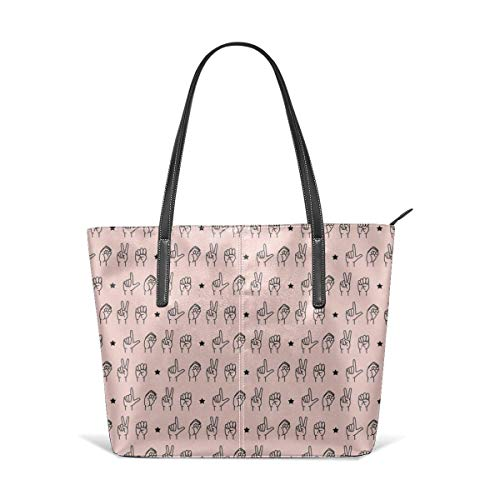 Borse a spalla da donna Women's Soft Leather Tote Shoulder Bag LOVE Sign Language Rose Fashion Handbags Satchel Purse
