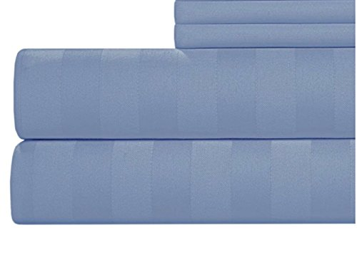 CANNON 4 Piece 100% Cotton 300 Thread Count Damask Flexi Fit Soft Sheet Set (Blue, King)