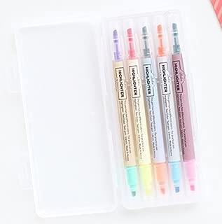 LIVEWORK 10 Colors Twin Pen Set - Dual Colors 5 Pen Set in Case (10 Colors Highlighter Set)