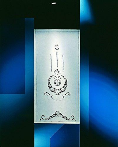 Zenoni & Colombi Coppia di Tende Ricamate a Mano Lindos Made in Italy Misto Lino Varie Dimensioni (60x150)