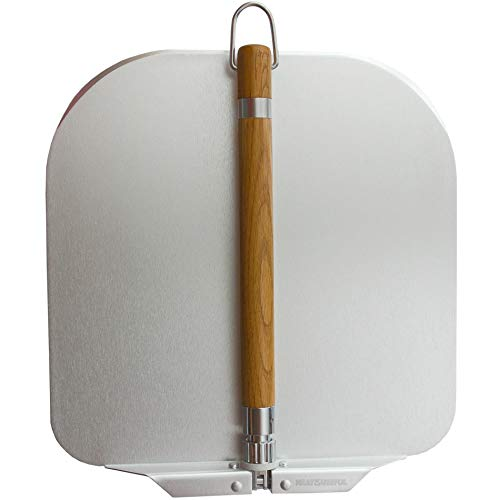 """Pizza Peel 12 Inch - Lightweight Large Metal Pizza Paddle Shovel For Pizza Stone - 12.6"""" Spatula Blade with Foldable Oak Wood Handle - Oven Tools & Accessories - For Baking Dough, Bread, Pastry"""