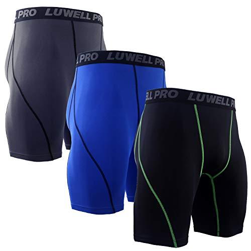 LUWELL PRO 3er Pack Herren Kompressionsshorts, Schnelltrocknendes Baselayer Unterhose Strumpfhose Kurze Hose Laufunterwäsche für Workout,Laufsport,Fitness(1126-Mixed Blue-XL)