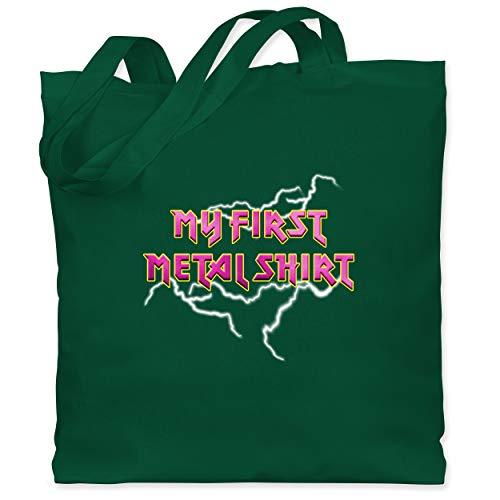 Sprüche Kind - My first Metal Shirt mit Blitzen rosa - Unisize - Dunkelgrün - Metal - WM101 - Stoffbeutel aus Baumwolle Jutebeutel lange Henkel