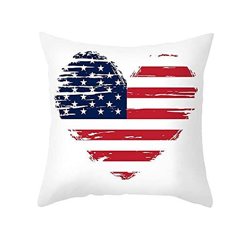 Aeromdale Funda de almohada con diseño de bandera americana para el día de la independencia americana, funda de cojín para sofá, oficina, sala de reuniones, decoración de la parte C – # C – 1 pieza