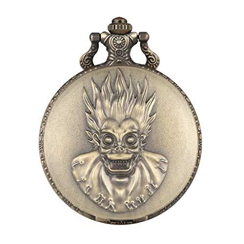 YUTRD ZCJUX Retro Creativo Mono Rey Ojos Grandes Reloj de Bolsillo de Cuarzo Steampunk Cadena Collar Colgante colección Antigua Regalos para Hombres Mujeres