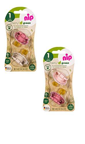NIP Bio Baby Schnuller Cherry green kirschform aus Naturkautschuk für Neugeborene, COLOURS Rose/Blush/Sand - Empfohlen ab 0-6 Monaten - Größe 1: 4 Stück