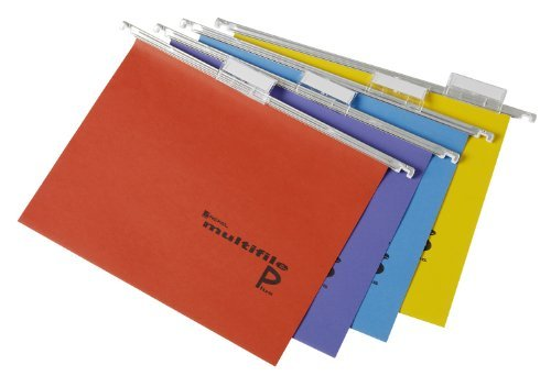 Rexel A4 Suspension Files with Tabs and Inserts for Filing Cabinets, 15 mm V-base, 100 Percent Recycled Manilla, Assorted Colours, Multifile Plus, Pack of 20, 2101979