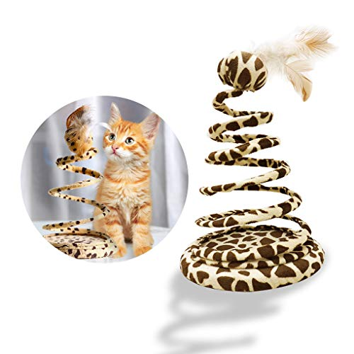 Andiker Interactive Cats Toy, Cat Plush Toy with Ball and Stainless Steel Spring Creative Cat Toy Heavy Plate Anti-Down Cat Teaser Spiral Sucker Save Space to Enjoy Time and Keep Fit (Ball)