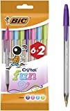 BIC Cristal Fun Bolígrafos Punta Ancha (1.6 mm) - Colores Fashion Surtidos, Blíster de 6+2