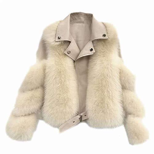 N/F Nuevo Abrigo de Piel de Zorro sintético de Moda de Invierno para Mujer Elegante Abrigo de Piel sintética Grueso Abrigo Corto de Motocicleta