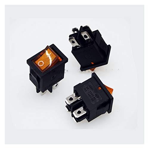 QHMDZ Interruptor basculante 4 Pin Rocker Interruptor Interruptor de botón de la luz Amarilla de la energía, Coche, etc 10A / 125VAC, 6A / 250VAC, 21 * 15mm (Color : 50 PCS)