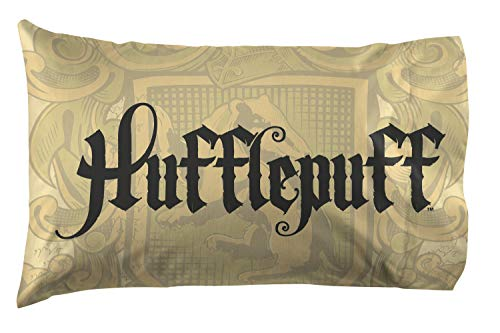 Jay Franco Harry Potter House of Hufflepuff Super Soft Double-Sided 1 Pack Pillowcase, Gold