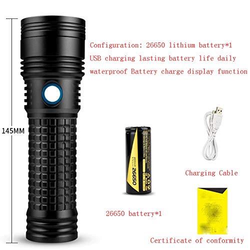 SJZLMB Lampe de Poche Torche LED LED puissante Lampe de Poche Lampe de Poche Rechargeable Super Longue portée 5000 ménages extérieur Spot Lampe au xénon Multi-Fonctions