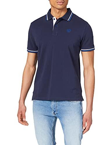 NORTH SAILS Polo da Uomo Blu Notte - 100% piqué di Cotone - vestibilità Regolare - Leggera con Maniche Corte e sotto Il Colletto Stampato - S