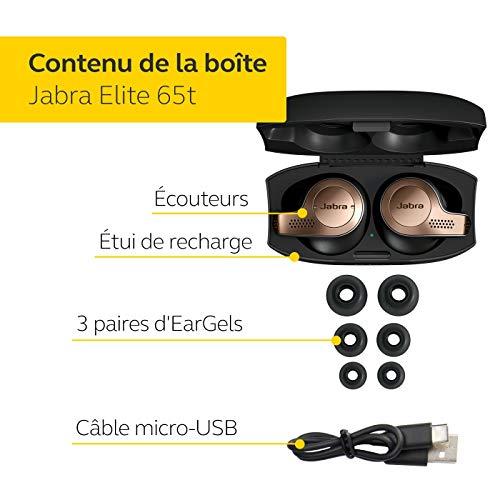Jabra Elite 65t Écouteurs - Écouteurs Bluetooth sans Fil à Isolation Passive du Bruit avec Technologie à 4 Microphones - Noir Cuivre