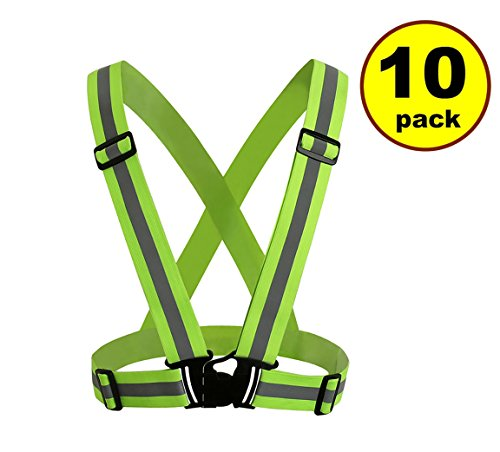 New JJMG Man/Woman High Adjustable Safety Security Visibility Reflective Neon Yellow Vest Gear Stripes Belt Jacket – Jogging, Running,Cycling (10 Pack)