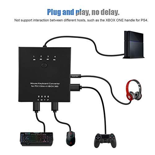 Tosuny Adattatore per Tastiera e Mouse Adatto per PS4 per PS3 per XBO XONE per Switch Xbox 360, convertitore Tastiera e Mouse