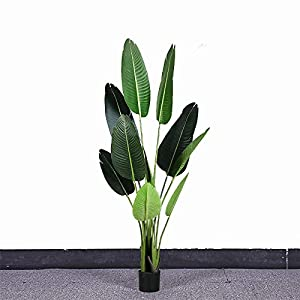 ZPCBPA 160cm Large Artificial Banana Tree Tropical Fake Plants Palm Leaves Pu Monstera Green Plastic Tree Indoor for Home Office Decor