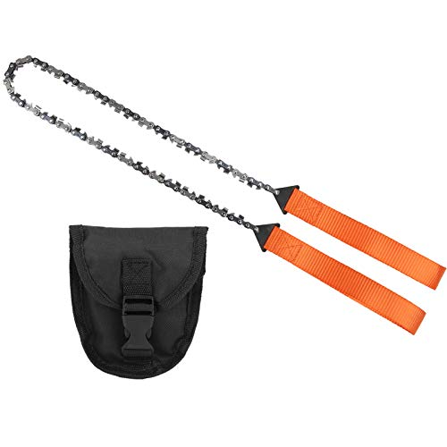 Fourket Mini Cadena de Mano Portátil Bolsillo Más Adecuado para Acampar Cortar Árboles Equipo de Supervivencia Caza Poda