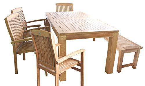 Mojawo 6-TLG. Teakhouten set eettafel 180x90x75cm + 1 teakhouten bank + 4 stapelstoelen van teakhout