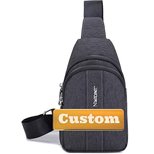 Nome personalizzato Uomini Sling Adolescente Borsa a tracolla Daypack Escursioni Uomini Mini fionda per le donne Borsa a tracolla viaggio (Color : Grey, Size : One size)