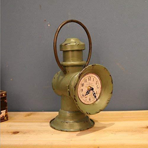 JKCKHA Estilo minimalista escandinavo regalo para hacer viejo linterna de hierro decoración del hogar decoración muebles muebles reloj de hierro