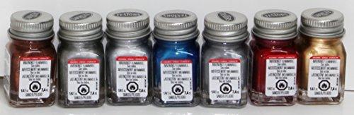 Testors Enamel Paints - 7 Metallic Color Set 1 - 1/4 oz- Metallic Gold, Metallic Silver, Metallic Copper, Flat Aluminum, Flat Steel, Blue Metal Flake, Red Metal Flake by Testor Corp.