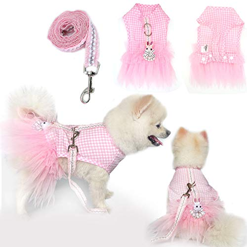 SunteeLong Pet Dog Dress Clothes Puppy Skirt with Leash Pink Dog Plaid Princess Dresses Sweetie Bowknot Dog Tutu Lace Dress Skirt for Small Dogs Girl Cats Dog Harness Leash Set Pink Rabbit XS