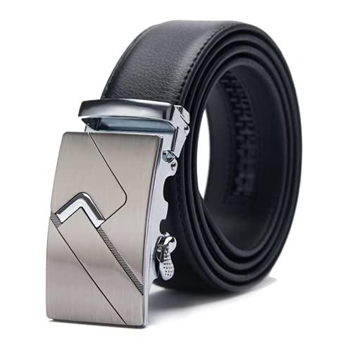 TANGCHAO Cintura Uomo, Cintura a Cricchetto da Uomo in Pelle con Fibbia Scorrevole Automatica 35mm Larghezza Nero 5-HEI-ZD 145CM