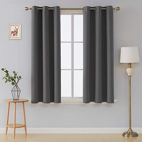 Deconovo Room Darkening Thermal Insulated Blackout Grommet Window Curtains Panels Set of 2 Living Room Dark Grey 42x63-Inch