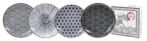 TOKYO design studio Nippon Black 4-er Teller-Set schwarz-weiß, Ø 25,7 cm, ca. 3 cm hoch, asiatisches Porzellan, Japanisches Design mit geometrischen Mustern