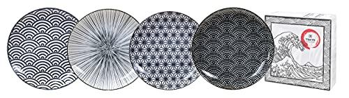 TOKYO design studio Nippon Black - Set di 4 piatti in porcellana asiatica, diametro 25,7 cm, altezza circa 3 cm, design giapponese con motivi geometrici