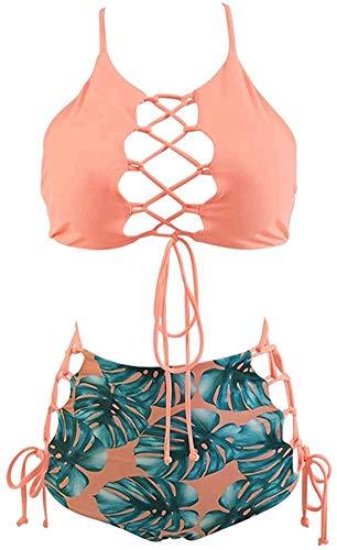 GIRL AND SEA Women High Waisted Bikini Two Piece Lace Up Tankini String Swimwear Set Pink Leafy M