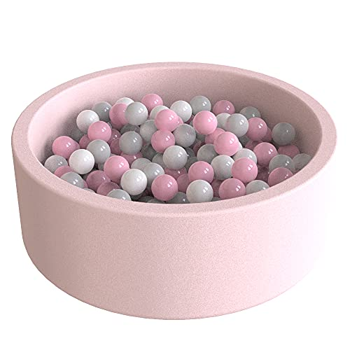 Wonder Space Deluxe Kids Round Ball Pit, Premium Handmade Kiddie Balls Pool, Soft Indoor Outdoor Nursery Baby Playpen, Ideal Gift Play Toy for Children Toddler Infant Boys and Girls (Light Pink)