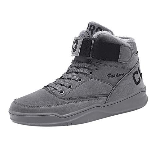 Zapatos de hombre JiaMeng-ZI Antideslizante Resistente al Desgaste Casual Zapatos Altas Pelusa Mantener Caliente Zapatillas de Skateboard Suaves Cómodas Zapatillas de Baloncesto Zapatos Deportivos