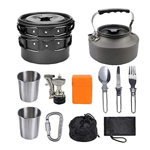 Cocina de cámping Juego de utensilios de picnic al aire libre Conjunto de Cook Set de picnic Fold Ultraligero utensilios de cocina para cocinar Tetera Pan Negro accesorios de camping para acampar