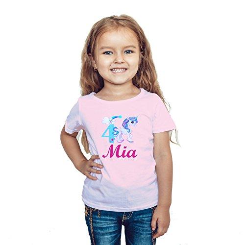 wolga-kreativ T-Shirt Geburtstag Mädchen ich Bin Schon 1 2 3 4 5 6 7 8 9 Jahre mit Namen Einhorn rosa Geburtstagsshirt personalisiert Kindergeburtstag Geschenk Kinder