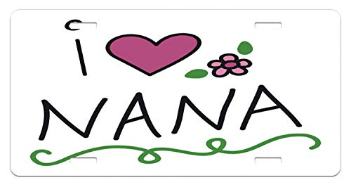 JUUK Saying Doodle Style I Love Nana Calligraphy with Heart and Flower Motif Decorative Car Front License Plate,Vanity Tag,Aluminum Novelty License Plate for Car,6 X 12 Inch