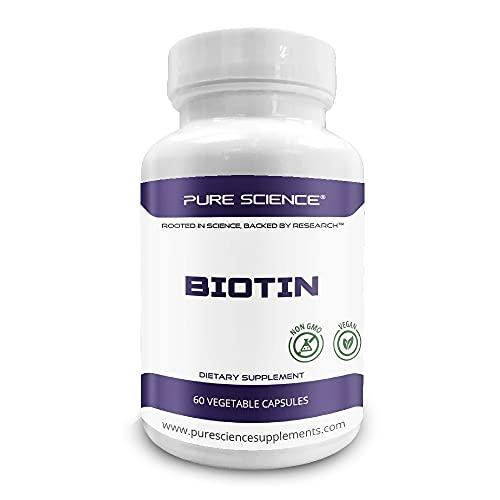 Pure Science Biotin 10,000 MCG mejorado con 176 mg de carbonato de calcio - 60 cápsulas vegetarianas