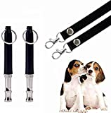 BMHNOONE Dog Whistle to Stop Barking, Adjustable Pitch Ultrasonic Training Tool Silent Bark Control for Dogs- Pack of 2 PCS Whistles with 2 Free Lanyard Strap