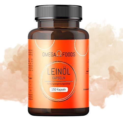 Leinöl Kapseln - 150 Kapseln Softgel - 1000mg pro Kapsel - Mit Vitamin E - Pflanzliches Omega 3-6-9