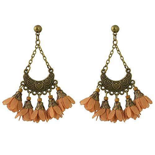 Nuevo estilo europeo y americano exagerado flecos aleación flor moda mujer pendientes en forma de abanico-marrón