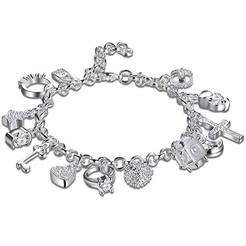 Zealmer Multi Wedding Love Charm Bangle Bracelet Silver Plated