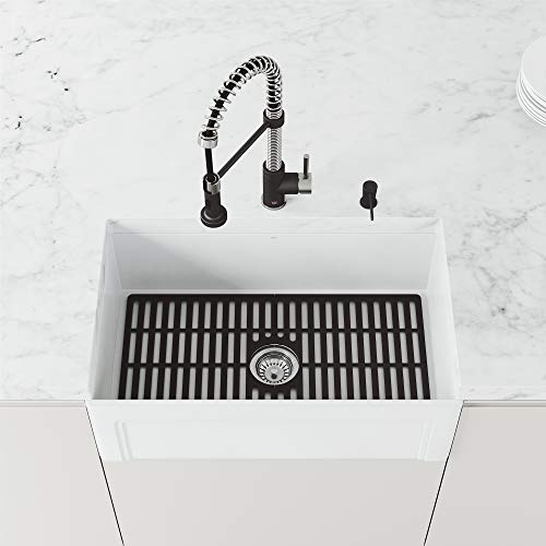 VIGO VGSG3018MB 27 in x 15 in Matte Black Silicone Kitchen Sink Protective Bottom Grid for Single...