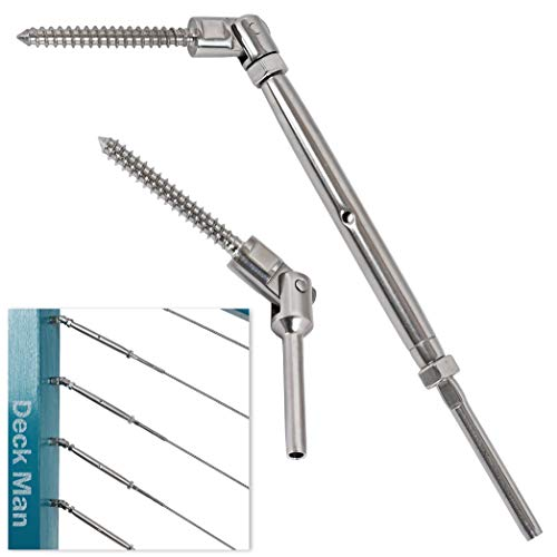 Deck Man 1/8 inch T316 Stainless Steel Adjustable Angle Single-Screw Cable Railing Kit/Hardware for Wood Posts,Marine Grade (30 Pairs)